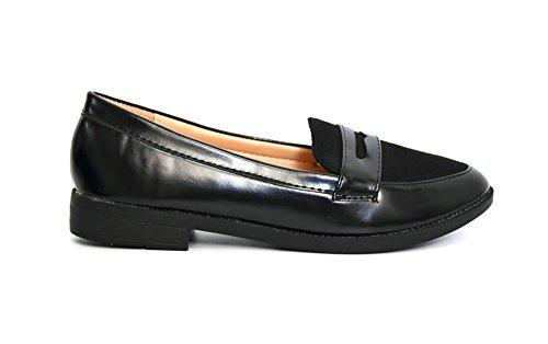 SHF45 * Mocassins Simili Cuir Uni avec Bande Ouverte et Tissu Effet Daim à l'Avant - Mode Femme (Noir) Noir