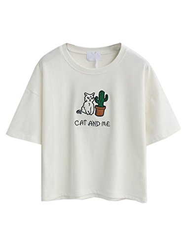 Choies Damen T-shirts mit Stickerei Rundhals Kurzarm Cat and Me Basic Cool Shirts Blouse Tops Weiß