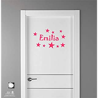 Artstickers Kinder Aufkleber für Möbeldekorationen, Türen, Wände. Name: Emilia, In pink, der Name in 20 cm + Zehnerpaket Sterne für Freie Anbringung.
