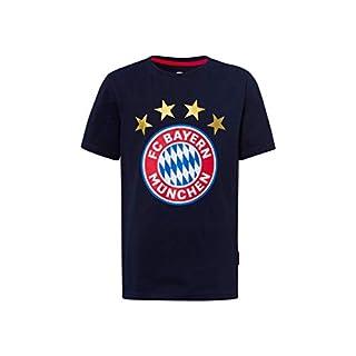FC Bayern München T-Shirt Logo Navy Kids, Fanshirt mit großem FCB-Emblem, 128