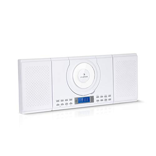 auna Wallie Microsystem - Stereoanlage, Microanlage, Kompaktanlage, 2 x 10 Watt RMS Stereo-Lautsprecher, Front-Loading CD-Player, UKW, Bluetooth, USB-Port, LCD-Display, Fernbedienung, weiß