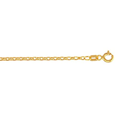 14k Yellow Gold 1.5mm wide Diamond Cut Oval Rolo Chain 18