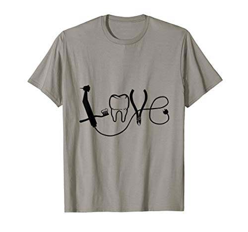 Lustiges Love Zahnarzt Zahnarzthelferin Zahnmedizin Zahn T-Shirt