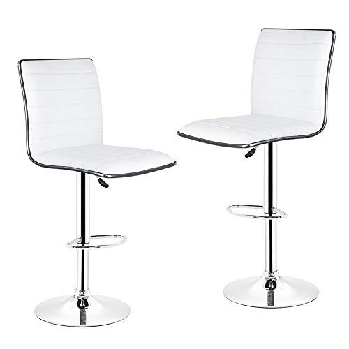 KY Barhocker Barstuhl Hocker 2 Teile/Satz Weiß/schwarz Bar Stuhl, Pu-Leder Barhocker Höhenverstellbar Küchentheke Pub Gestreiften Stuhl (Color : White) -