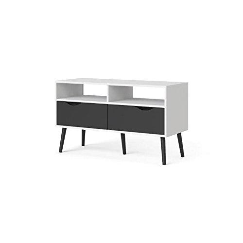 TV-Board Napoli, TV-Lowboard, schwarz/weiß