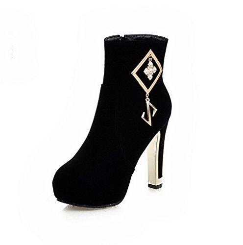 VogueZone009 Donna Punta Tonda Tacco Alto Bassa Altezza Puro Stivali con Metallo Nero