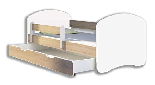 Kinderbett Jugendbett mit einer Schublade und Matratze Weiß ACMA II (140x70 cm + Schublade, Eiche Sonoma) -