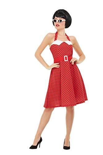 Smiffys 51039M 50er Jahre Rockabilly-Kostüm, Damen, Rot, M - Größe 38-42