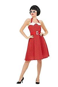 Smiffys 51039L 50s Rockabilly - Disfraz para mujer, talla L, color rojo