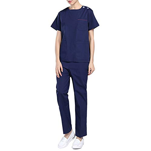 Neue Medizinische Peelings (Best 6U Neue Medizinische Uniformen Sommer Kurzen Ärmeln Krankenhaus Medizinische Kleidung Frauen Chirurgische Dorctor Krankenschwester Uniformen Schönheitssalon Peeling Set,Blue,S)
