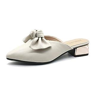 Mzq-yq Sandalen Female Point Half Drag Fashion Bow Sandalen und Hausschuhe grob mit Wilden Baotou Female Slippers Outdoor Casual Schuhe Schwarz, Beige,White,37