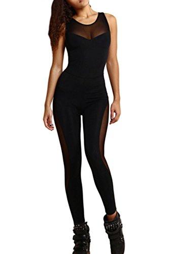 Frauen Elegant Ärmellose Rückenfrei Bodycon Schiere Yoga Lange Hosen Overalls Rompers Black S (Hosen Schiere)