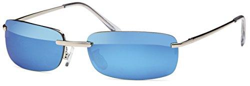 sportlich elegante flache Sonnenbrille Trento rahmenlos mit Flexbügeln + Brillenbeutel - flache Sonnenbrille 5000 blauspiegel