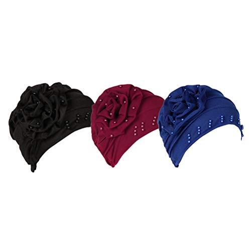 Wulstige Motorhaube (Zhhlaixing Kopf Abdeckung Motorhaube Alopezie Hüte Muslim - Chemo Kopfbedeckungen Wulstige Blume Gefaltet Schlaf Turban Hut)