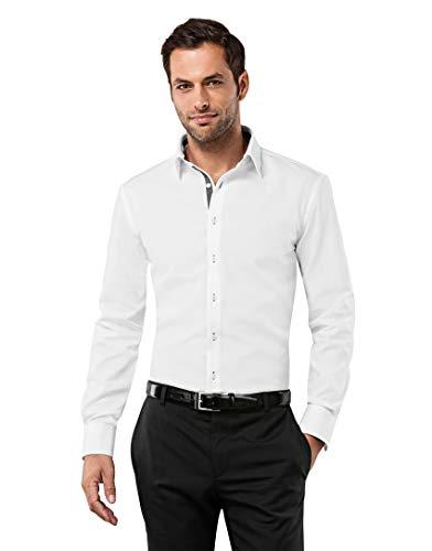 Vincenzo Boretti Herren-Hemd bügelfrei 100{b481292f4b60fc580651ec7d51115ffe7849f5d0fee0214681bd5f47b36b3e06} Baumwolle Slim-fit tailliert Uni-Farben - Männer lang-arm Hemden für Anzug Krawatte Business Hochzeit Freizeit weiß/anthrazit 39/40