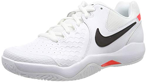 Nike Herren Air Zoom Resistance Tennisschuhe, Mehrfarbig (White/Black-Bright Crimson 105), 44.5 EU