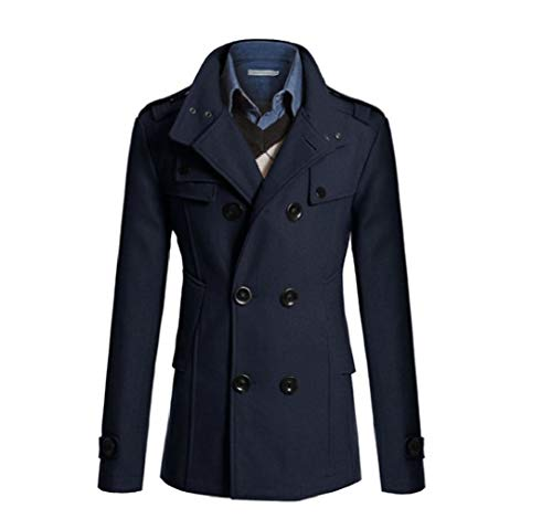 CuteRose Mens Business Woolen Outwear Double Breasted Regular Fit Trenchcoat Navy Blue 2XL Single Breasted Peacoat