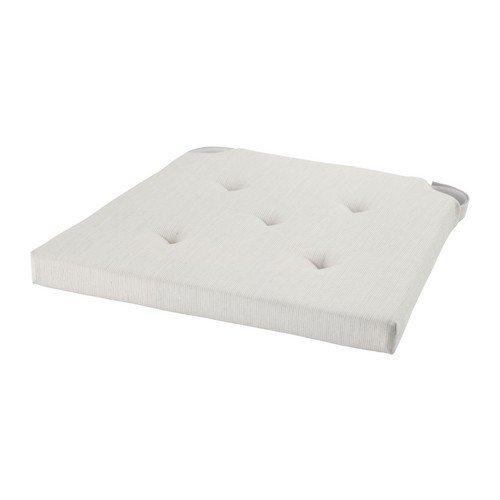 """IKEA Stuhlkissen """"JUSTINA"""" gepolsterte Sitzunterlage mit Befestigungsband für drinnen und draußen - BxTxH 35/42x40x4 cm - div. Farben (natur)"""