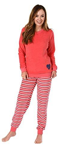 Damen Frottee Pyjama Schlafanzug Langarm mit Bündchen 281 201 93 006, Farbe:pink, Größe2:36/38
