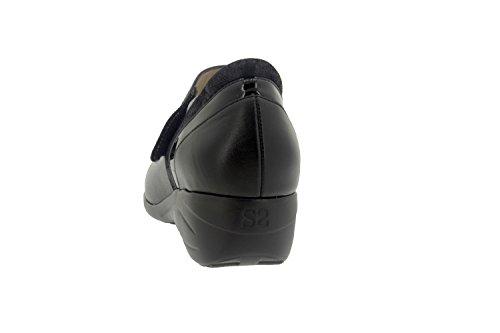 Komfort Damenlederschuh Piesanto 7977 lässig riemchenschuh bequem breit Negro