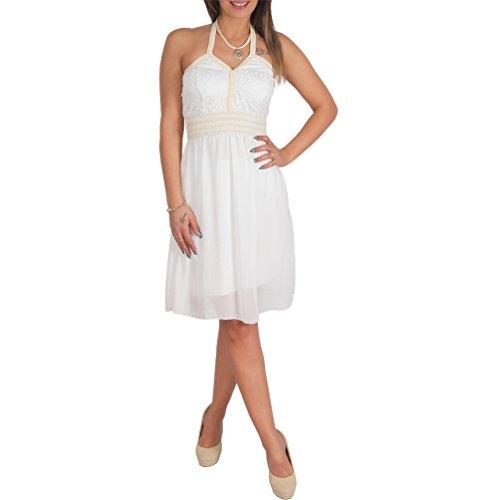 Neckholder Bandeau Kordel Mini Kleid Spitze Cocktailkleid Partykleid  Silvester 1333 Weiß