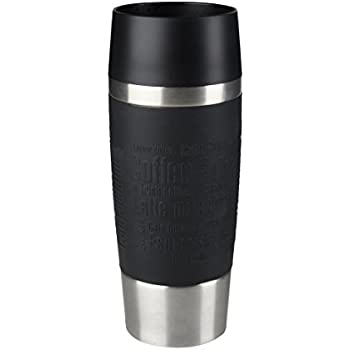 Emsa 513361 Isolierbecher, Mobil genießen, Quick Press Verschluss, Travel Mug, 360 ml, schwarz