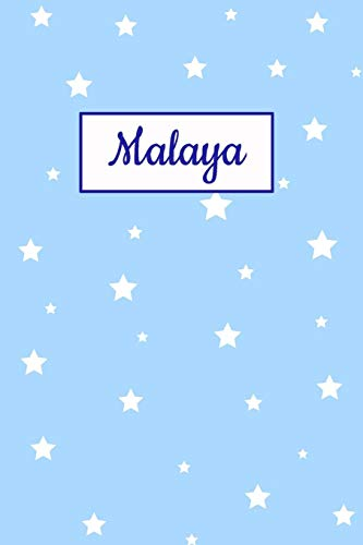 Malaya: Personalized Name Journal. Wide Ruled (Lined) Writing Diary, Composition Book. Baby Blue Star Cover for Girls, Kids and Teens Malaya Cover