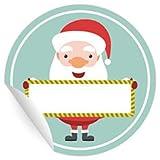 24 Weihnachtsmann Aufkleber zum beschriften, MATTE universal Papieraufkleber für Einladungen, Geschenke, Etiketten für Tischdeko, Pakete, Briefe und mehr (ø 45mm