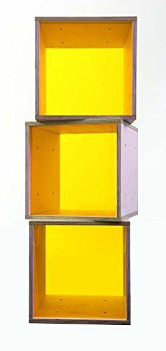 iCube das Regal mit gelber Plexiglasscheibe 3er Set in PREMIUM QUALITÄT