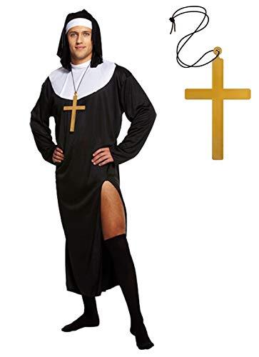 Nonne Kostüm Sister Act - Unbekannt Herren Nonne Kostüm - Verkleiden als Nonne - Kostüm für Karneval, Fasching, Halloween - vertrieb durch ABAV (Nonnen Kostüme Herren mit Kreuz)