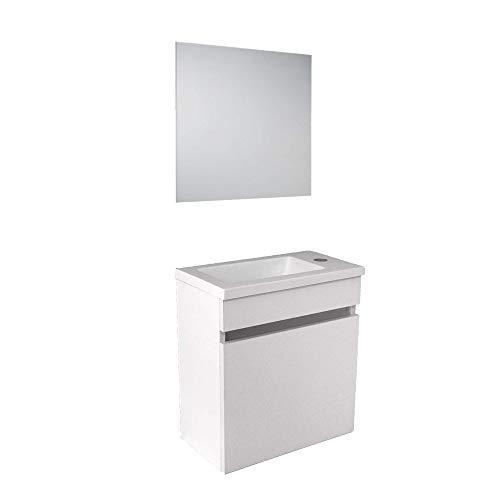 STARBATH PLUS Ensemble Petite Meuble Salle De Bain MDF 40 x 22 cm Vasque Résine Miroir (Blanc)