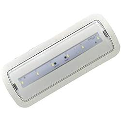 (LA) Luz de Emergencia LED empotrable o superficie 3W, 200 lumenes, 3 Horas de Autonomía Blanco Frío 6000K - 200 Lumenes!