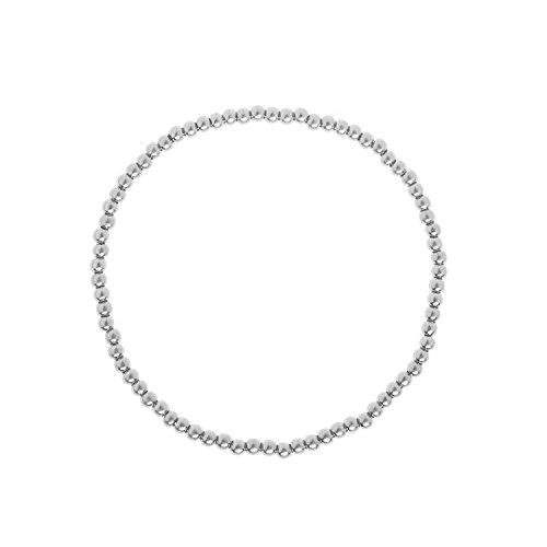 SENCE Copenhagen Stretch-Armband Damen Silber Dehnbar mit Stretch Kugelarmband Roots Worn Silver aus Messing Versilbert - P967