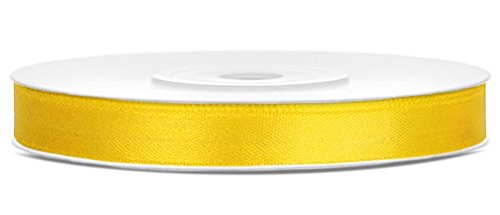 25m x 6mm Rolle Satinband Geschenkband Schleifenband Dekoband Satin Band Antennenband (Gelb (084))