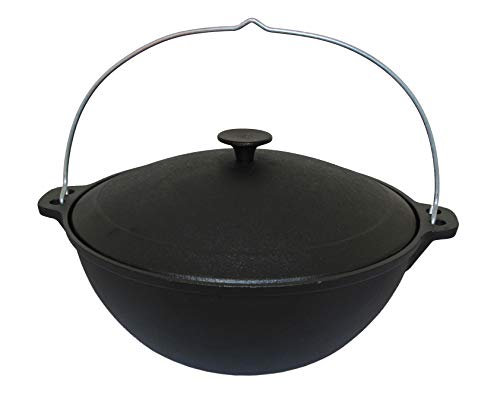 rukauf Kazan Cast Iron Wok with Lid and Handle 4 Litres Kasan Asia Casserole Camping 4 Litres