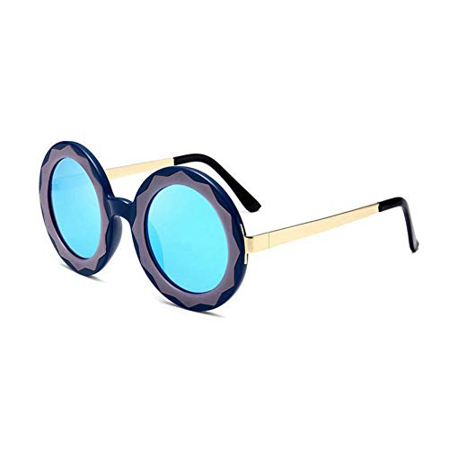 GBST Fashion New Round Metal Sunglasses Flower Frame Personality Street Shooting Sunglasses,Blue