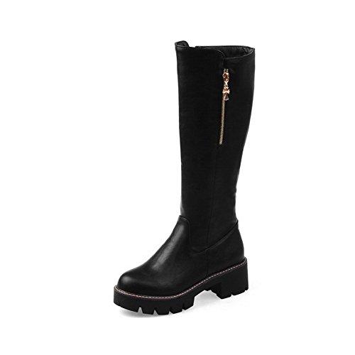VogueZone009 Damen Mattglasbirne Eingelegt Reißverschluss Stiefel mit Metalldekoration, Schwarz, 38