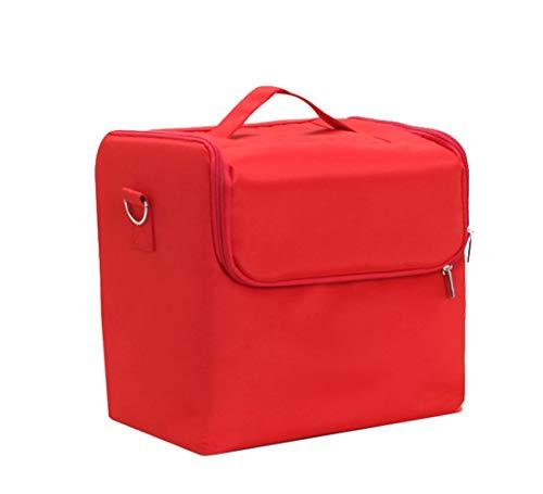 Sac de rangement de maquillage portable Nail Tool Kit sangle réglable,Red