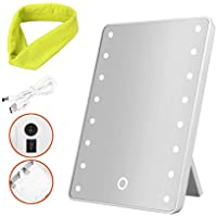 Makeup Mirror with Lights,16 LED Jingobyne Touch Cosmetic Mirror, Plus Headband and USB Charging
