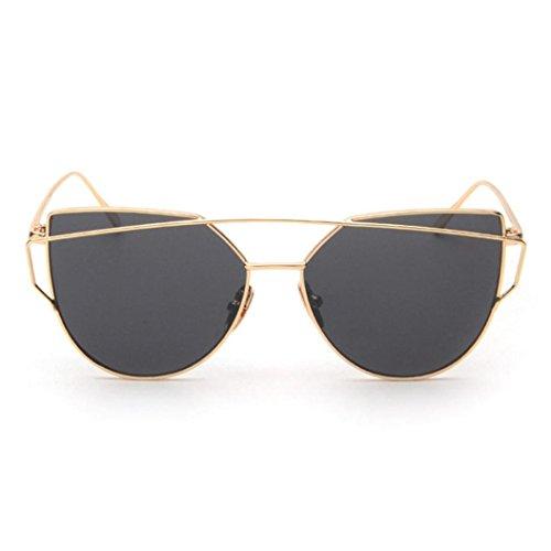 Ularma Damen Twin-Träger Vintage Classic Metallrahmen Sonnenbrille Katzenaugen Brille Reflektierenden Spiegel (Schwarz2)
