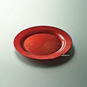 12 assiettes mariage jetables plastique couleur rouge carmin nacré 24 cm