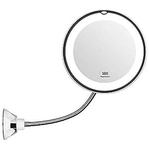 Kitchnexus LED Badspiegel Kosmetikspiegel mit 10x Vergrößerung und Saugnapf Schminkspiegel Set 360° Schwenkbar Make Up Ideal für Zuhause oder Unterwegs