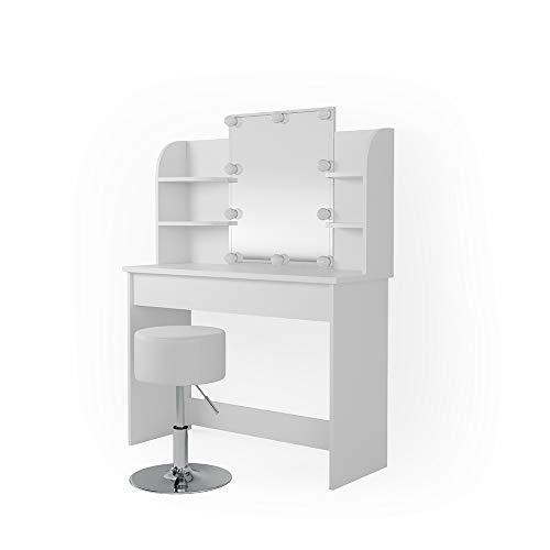 Vicco Schminktisch Charlotte 142 x 108 cm Weiß - Frisiertisch Kommode Spiegel mit LED-Beleuchtung und Hocker +++ Schminkkommode mit Schubfach- und Regalsystem +++ (Weiß)