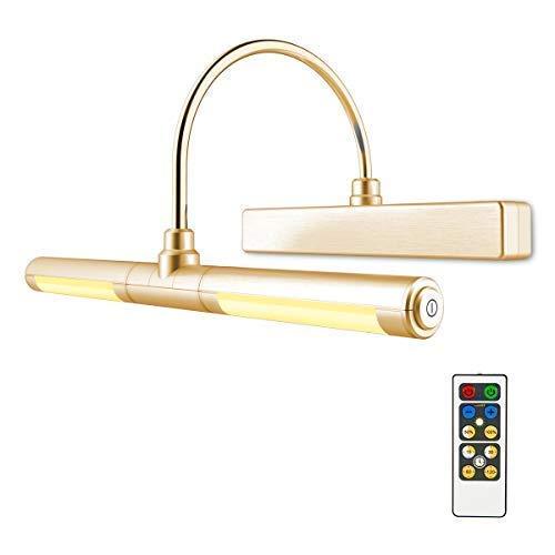 Lumière de l'image HONWELL LED Luminaire Salle de Bain Lumière de Miroir Tableau Mural Lampe Salle de Bains Applique Miroir Pour Image,Miroir éclairage(Couleur or)