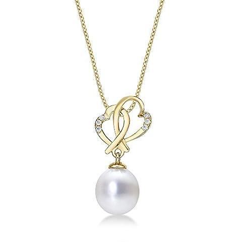 Interlocking Herz & Perle Halskette mit Anhänger Single 8–8,5mm Süßwasserperle Weiß und Weiß Zirkonia Steinen Set in luxuriöser 9K Gelb Gold