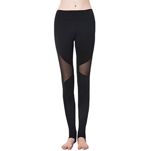 NiSeng Femme 2 Pièces Sports Pantalon Legging Elasticite Respirant Skinny Sechage Rapide Gym Yoga Jogging Fitness Noir Legging