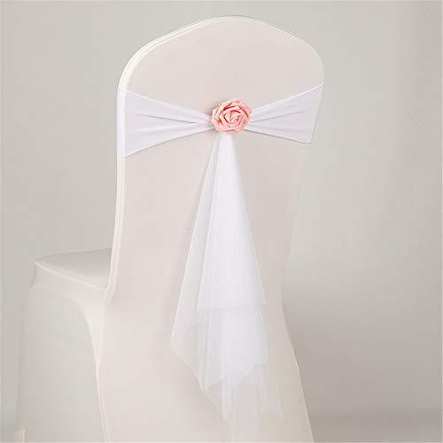 Bogen Zurück Stuhl (GLITZFAS 10 Organza Hochzeit Stuhl zurück Dekoration Bogen Schleife Schärpen Stuhlschärpen Stuhlhussen Bankett Party Band Events Supplies (Weiß))