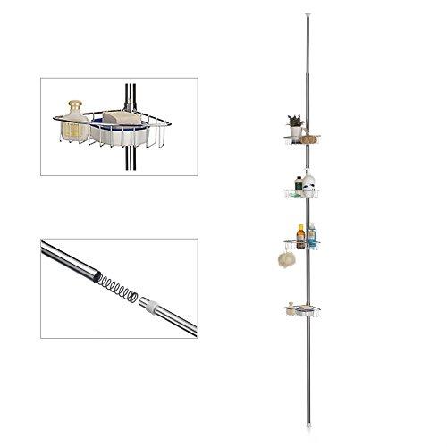 CARO-Möbel Duschteleskopstange Melissa Duschablage Duschregal, Metallgestell ausziehbar 240-270 cm verchromt, 4 Metallkörbe
