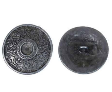Handarbeit-Lieblingsladen 12 Stück Metallknöpfe 25mm rund antiksilber Knöpfe Knopf Öseknöpfe Keltik