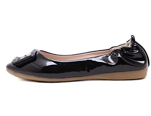 Fortuning's JDS Pointu Cône brevets Casual chaussures Roll Egg en cuir à semelle souple Noir